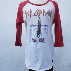 Def Leppard Tour 1981 Raglan 3/4 sleeve shirt